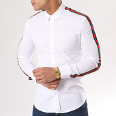 /achat-chemises-manches-longues/ikao-chemise-manches-longues-avec-bandes-f116-blanc-130479.html