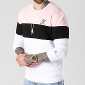 /achat-sweats-col-rond-crewneck/final-club-sweat-crewneck-tricolore-avec-broderie-061-blanc-noir-rose-141839.html