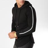 /achat-sweats-capuche/lbo-sweat-capuche-oversize-avec-bandes-501-noir-blanc-154009.html