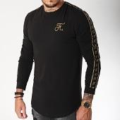/achat-t-shirts-manches-longues/final-club-tee-shirt-manches-longues-oversize-gold-label-avec-bandes-et-broderie-or-104-noir-159256.html