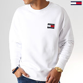 /achat-sweats-col-rond-crewneck/tommy-hilfiger-jeans-sweat-crewneck-badge-6592-blanc-186837.html