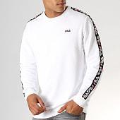 /achat-sweats-col-rond-crewneck/fila-sweat-crewneck-a-bandes-aren-682363-blanc-noir-rouge-188098.html